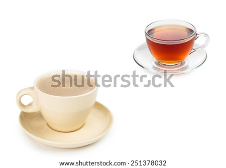 small white cup of cappuccino coffee with tea - stock photo
