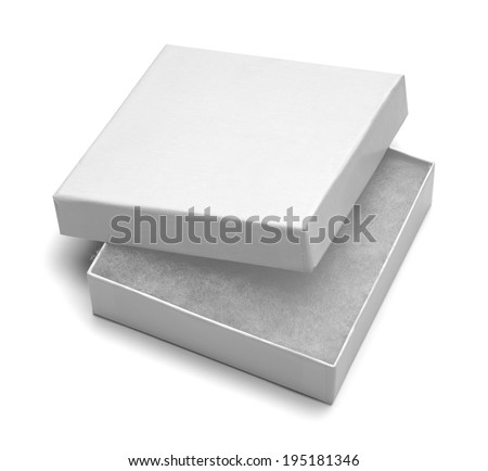 Small White Jewlery Box With Stuffing Isolated on White Background. - stock photo