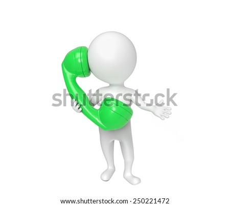 Small white person speaks on the phone - stock photo