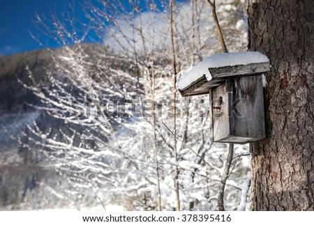 Small wooden bird feeder with a hat of heaped fresh white winter snow and falling snow flakes. - stock photo