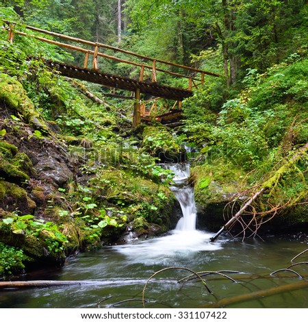 Small wooden bridge leading across a mountain creek in green valley - stock photo