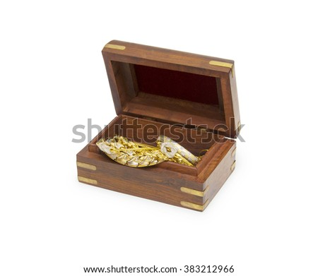 Small wooden chest with jewellery
