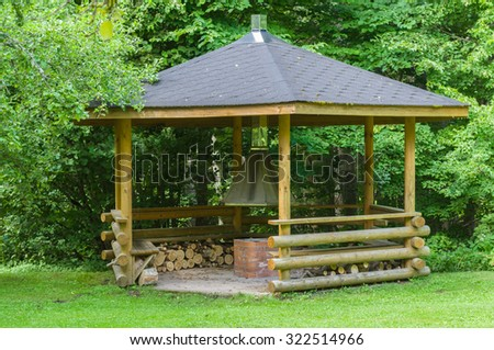 Small wooden grill house in the forest