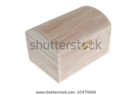 Small Wooden jewell box closed isolated on white background.