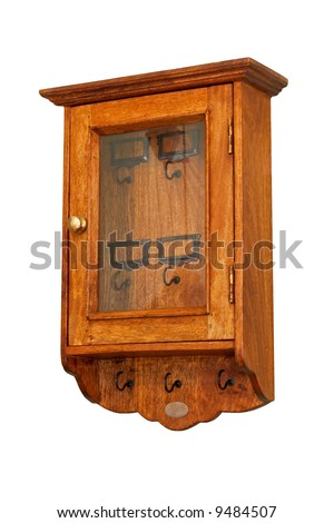 Small wooden locker for key organisation isolated