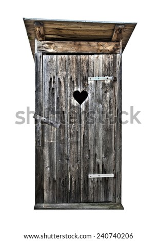 Small wooden outdoors toilet isolated on white, hdr - stock photo