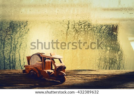 Small wooden toy car, Tuk Tuk Thailand - stock photo