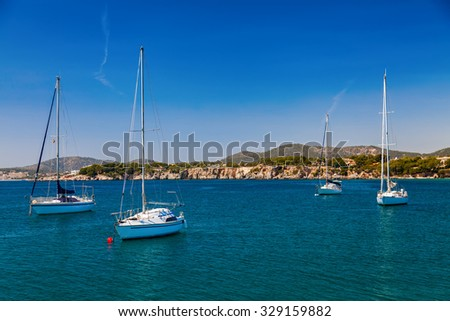 small yachts in the bay of Portals Nous, Mallorca, Spain