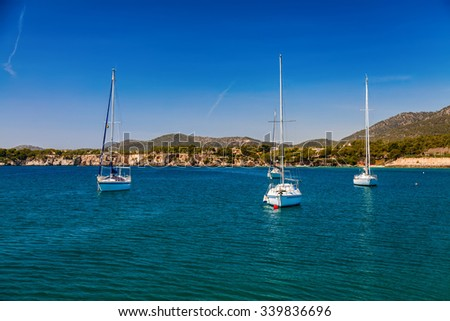 small yachts in the harbor of Portals Nous, Mallorca, Spain - stock photo
