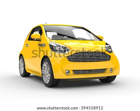 Small Yellow Compact Car - Front Headlight View - stock photo
