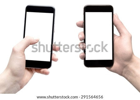 smarphony in the hands of women, comparison - blank screens - stock photo