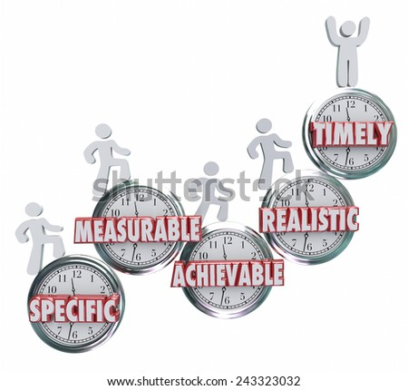 SMART acronym or abbreviation on clocks to illustrate goals or objectives that are specific, measurable, ahievable, realistic and timely to achieve success - stock photo