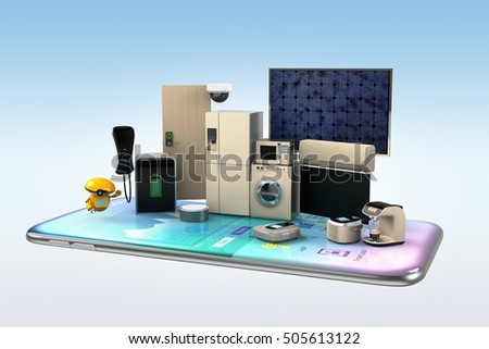Smart appliances on a smart phone. Concept for home automation. 3D rendering image.