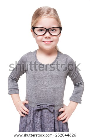 Smart beautiful little girl in glasses isolated over white background - stock photo