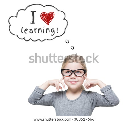 Smart beautiful little girl in glasses isolated over white. School concept  - stock photo