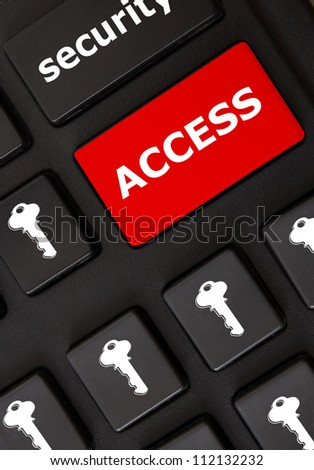 Smart black keyboard with color button and text Access - stock photo