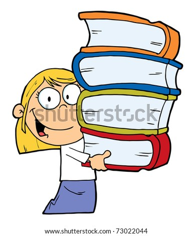 Smart Blond Caucasian School Girl Carrying A Stack Of Books - stock photo