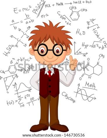 Smart boy cartoon - stock photo