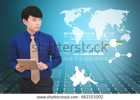 Smart Business man and technology background