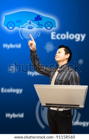 Smart Business man point to hybrid system for Ecology