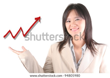 Smart business woman hand with a line