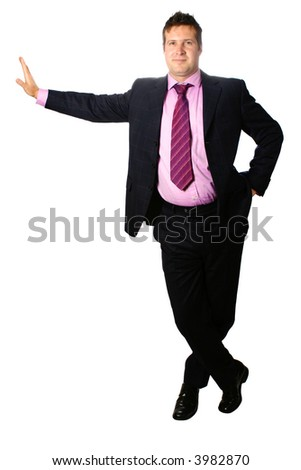 Smart businessman leaning against a virtual wall, isolated on white. - stock photo