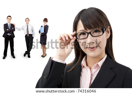 Smart businesswoman and business team - stock photo