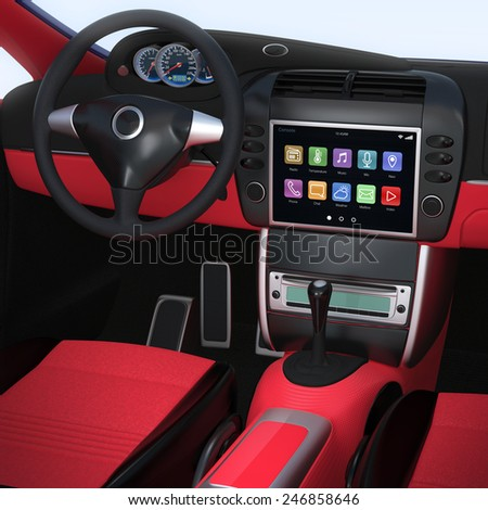 Smart car console with multimedia touch screen interface. - stock photo