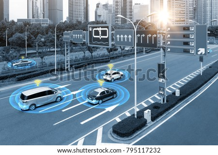 Smart car (HUD) , iot , Autonomous self-driving mode vehicle on metro city road iot concept with graphic sensor radar signal system and internet sensor connect. Blue tone image.
