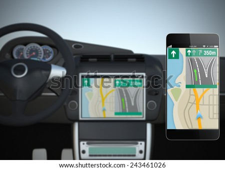 Smart car navigation system synchronized with smart phone - stock photo