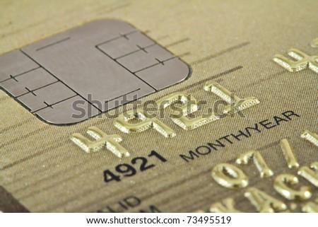 Smart card macro , credit card chip - stock photo