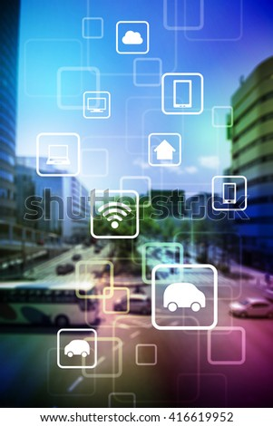 smart city and vehicles, wireless communication network, internet of things (IoT), abstract image visual - stock photo