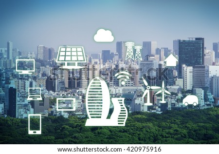 smart city, smart building, smart grid, abstract image visual - stock photo
