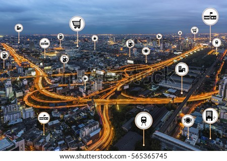 Smart City Things Icons Mesh On Stock Photo 565365745