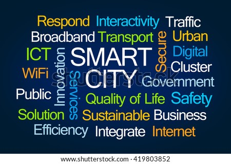 Smart City Word Cloud on Blue Background - stock photo