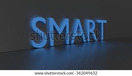 Smart concept word - blue text on grey background.