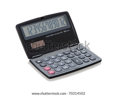 Smart digital calculator isolated on white
