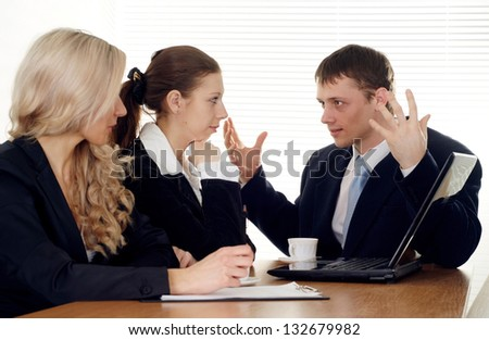 Smart entrepreneurs to discuss current issues and ways out of the situation - stock photo