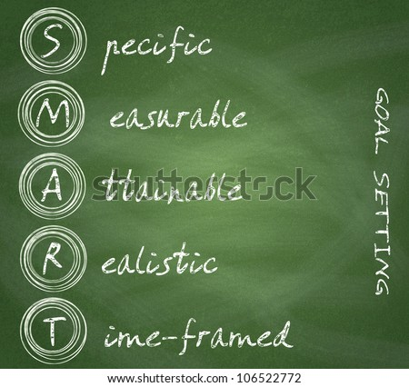 Smart goal setting diagram on chalkboard background. - stock photo