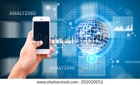 Smart hand and digital world background : Elements of this image furnished by NASA - stock photo