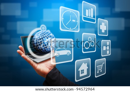 Smart hand grab the globe of multi icon - stock photo