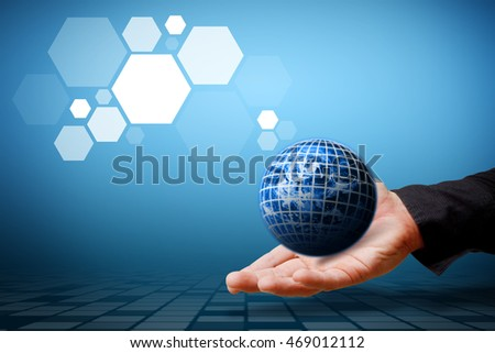 Smart hand hold the digital world : Elements of this image furnished by NASA