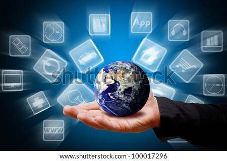 Smart hand hold the world of icon : Elements of this image furnished by NASA - stock photo