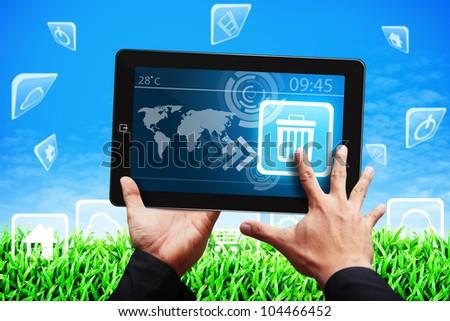 Smart hand press on Bin icon - stock photo