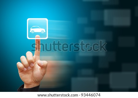 Smart hand press on car icon - stock photo