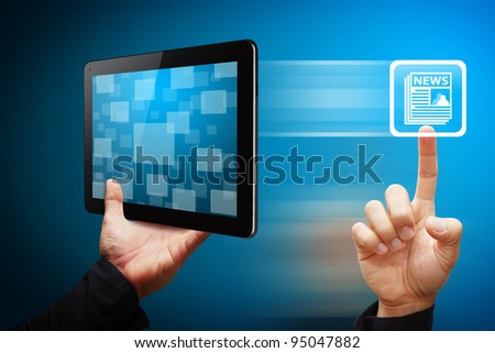 Smart hand press on news icon from tablet pc - stock photo
