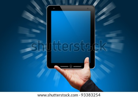 Smart hand show the Tablet computer - stock photo