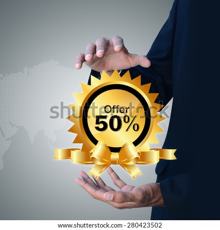 Smart hand showing discount tag - stock photo