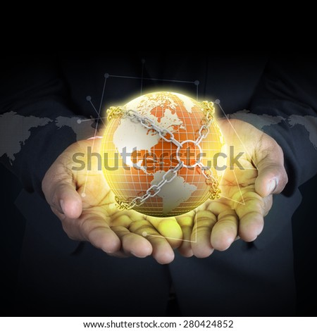 Smart hand showing earth globe close in chain    - stock photo