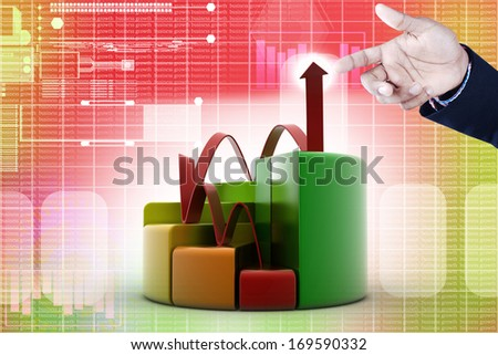 Smart hand showing finance pie and bar chart graphs   - stock photo